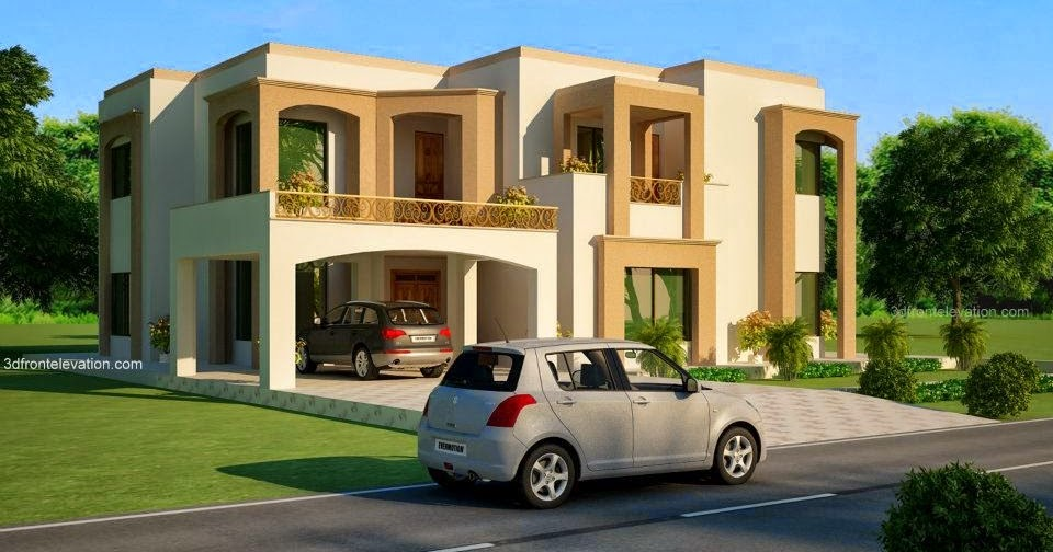 3d Front Elevation Lahore : D front elevation kanal lahore pakistani house