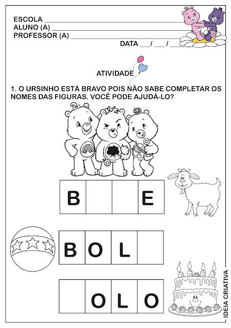 Atividade Completar Palavras com Ursinhos Carinhosos