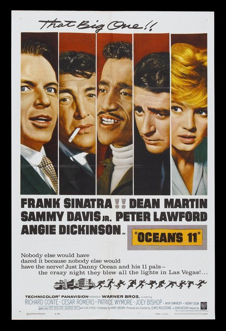 free printable, printable, classic posters, free download, graphic design, movies, retro prints, theater, vintage, vintage posters, Ocean's 11 - Frank Sinatra, Dean Martin, Sammy Davis Jr. - Vintage Movie Poster