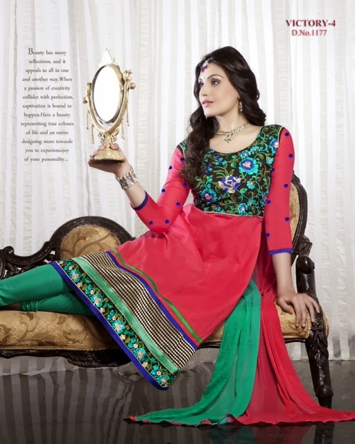 Online Shopping Anarkali Suit Neck And Border Embroidery Work
