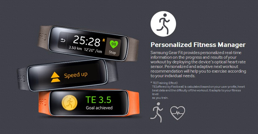 Samsung Gear Fit main objective is to help you keep fit