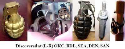 Four grenades discovered at OKC, BDL, SEA, DEN, SAN