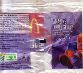 Back of McDonald's The Amazing Spider-Man 2 apple slices wrapper
