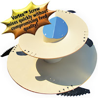 The Patz Multi-Angle Top Vortex™* Screw mixes feed quickly and efficiently - without crushing ingredients!