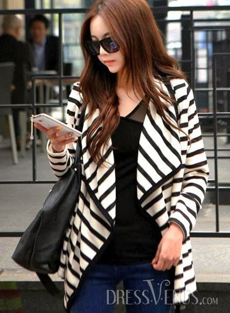 Glamour Print Asymmetrical Zebra-Stripe Hem Cardigans