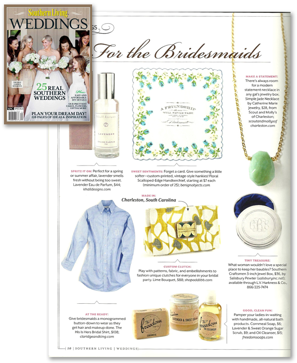 benign objects handkerchiefs featured in southern living weddings 2013