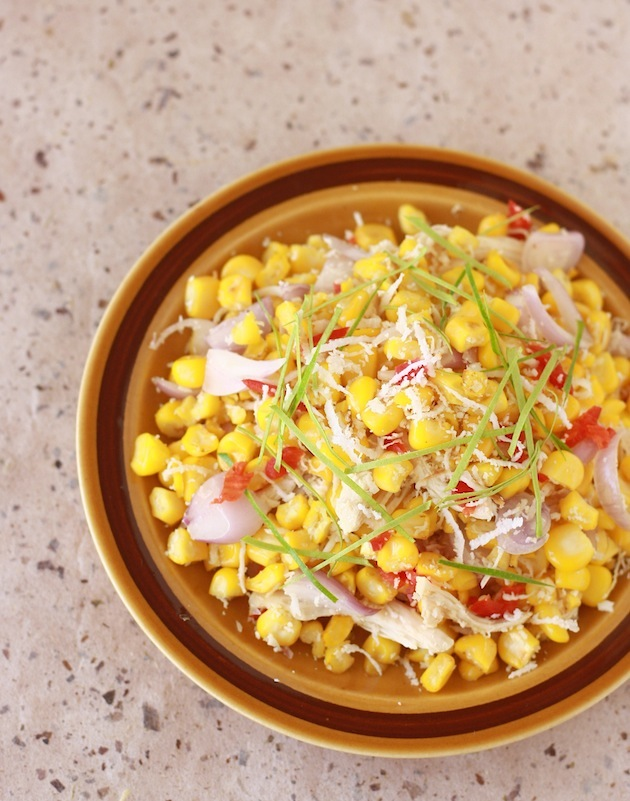 Thai Sweet Corn Salad with Kaffir Lime Leaves by SeasonWithSpice.com