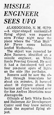 Missile Engineer Sees UFO - Xenia Daily Gazette 10-11-1958