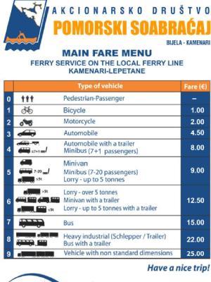 Precios del ferry Kamenari-Lepetane
