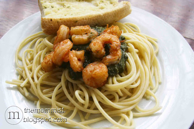 Pesto on pasta with shrimp at Volante