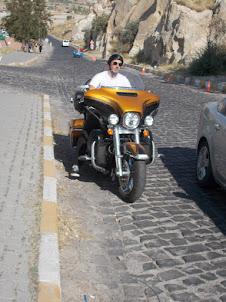 Classic Harley Davidson bike and rider in Goreme.