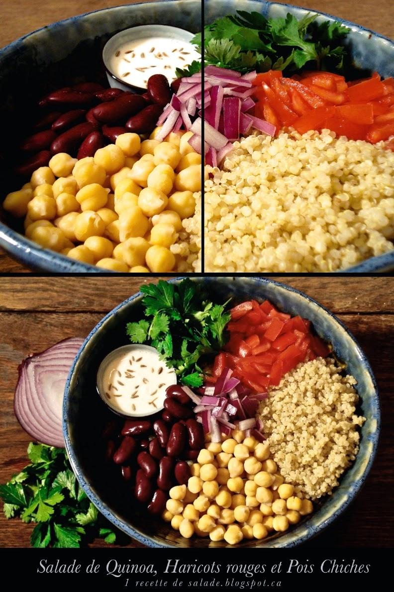 1 recette de salade salade de quinoa haricots rouges et pois chiches. Black Bedroom Furniture Sets. Home Design Ideas
