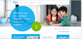 Skype's homepage in a PC browser