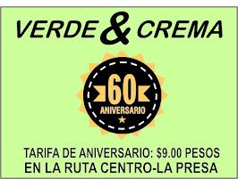 60 Aniversario de autobuses Verde y Crema