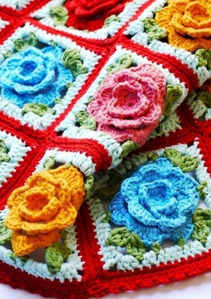Crochet Rose Granny Square - Free Crochet Diagram