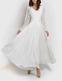 Long Sleeve Chiffon Maxi (White)