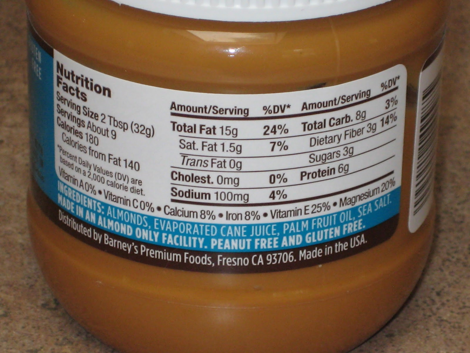 Barney almond butter ingredients