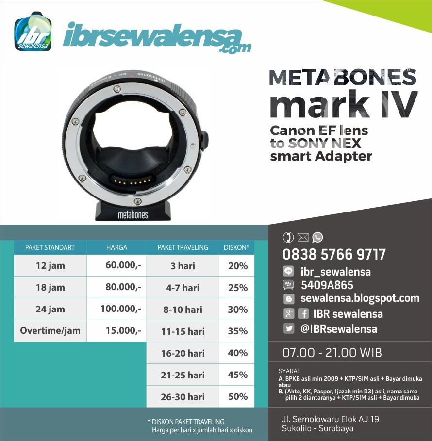 SEWA ADAPTER METABONES mark IV Canon EF to SONY NEX