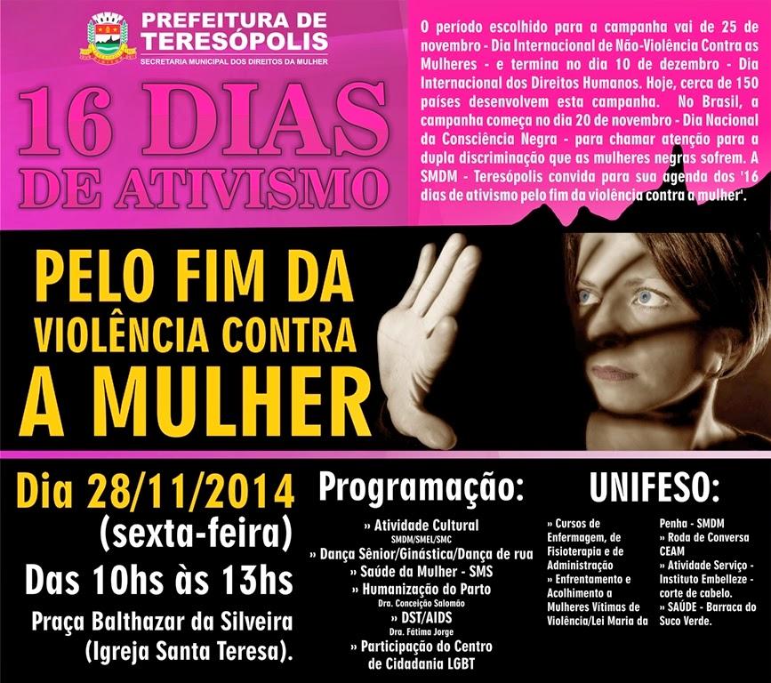 Prefeitura de Teresópolis promove evento para marcar os '16 Dias de Ativismo –Pelo Fim da Violência Contra as Mulheres'
