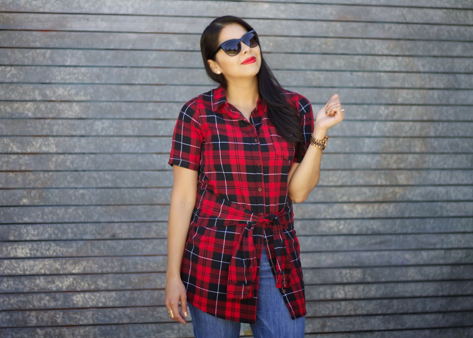 Cateye sunnies, lil bits of chic, plaid chic, tartan chic, chicness 2014, red lips chic