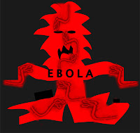 Graphic (c) Erika Grey of Ebola depicted as a giant red monster with symbolizing  hemorrhagic fever which has enlargements of the ebola virus as hands and feet, and as its nose and hair, reaching out to whoever it can infect
