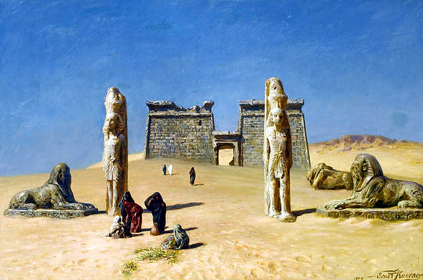 Karl Körner cairo paintings ernst karl eugen koerner german 1846 1927 the temple of wadi