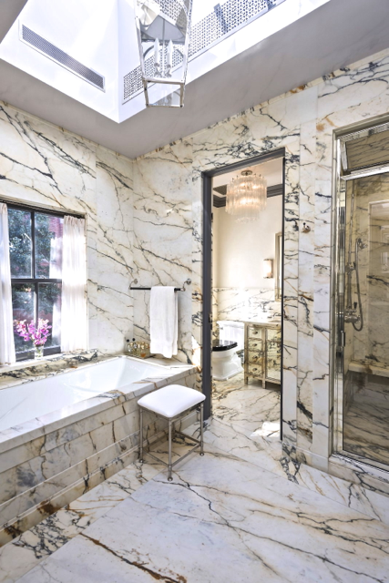 Marble bathroom in Steven Gambrel's home