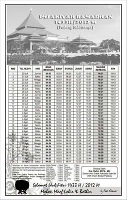 Jadwal Imsakiyah Puasa Ramadhan 1433H/2012M