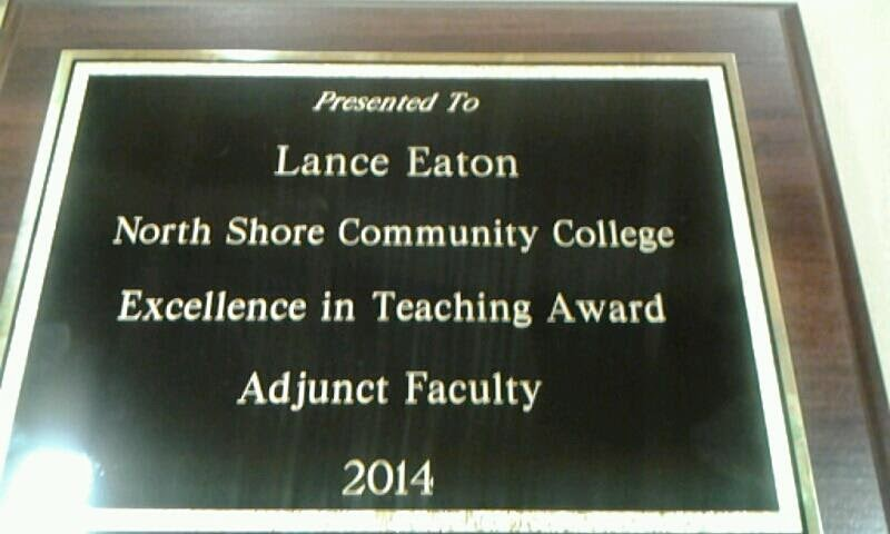 2014 North Shore Community College Excellence in Teaching Award for Adjunct Faculty - Lance Eaton