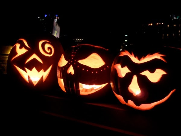 Creepy carved Halloween pumpkins