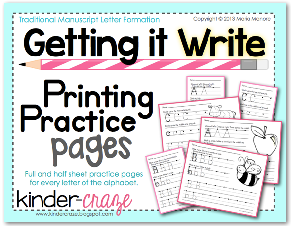 Printing Practice Pages to develop proper letter formation