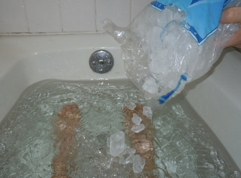 Ice bath after 23 miles