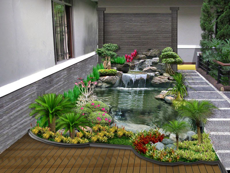 Jasa pembuatan kolam minimalis | desain miniatur air terjun | dekorasi taman minimalis | pembuatan saung gazebo