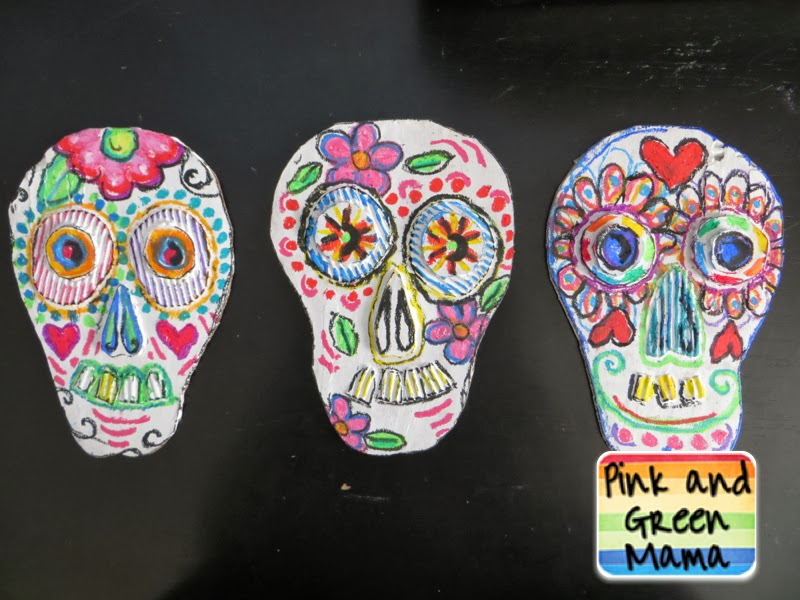 Pink and green mama art around the world kid friendly for Day of the dead crafts for preschoolers