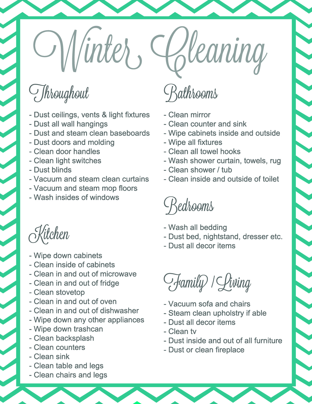Winter Cleaning Checklist | Free printable checklist for deep cleaning!  This is perfect for spring or winter cleaning! | #cleaning #printable #free