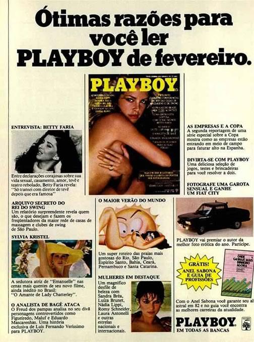 Propaganda da Revista Playboy veiculada em março de 1982 com destaques daquela edição.