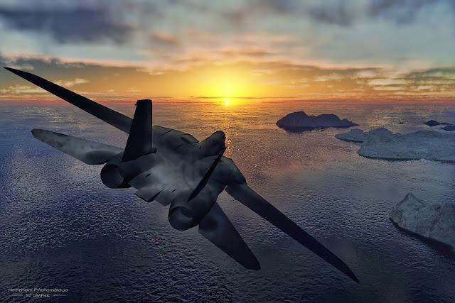 Jet towards Sunset 3D Graphic