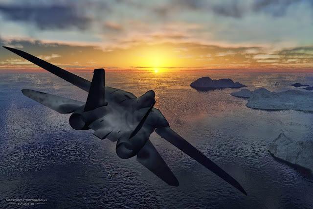 Jet towards Sunset 3D Graphic