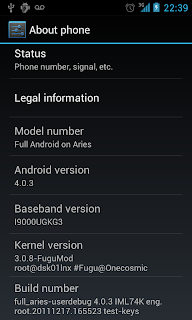 ICS 4.0.3 for Samsung Galaxy S GT I9000 Screenshot