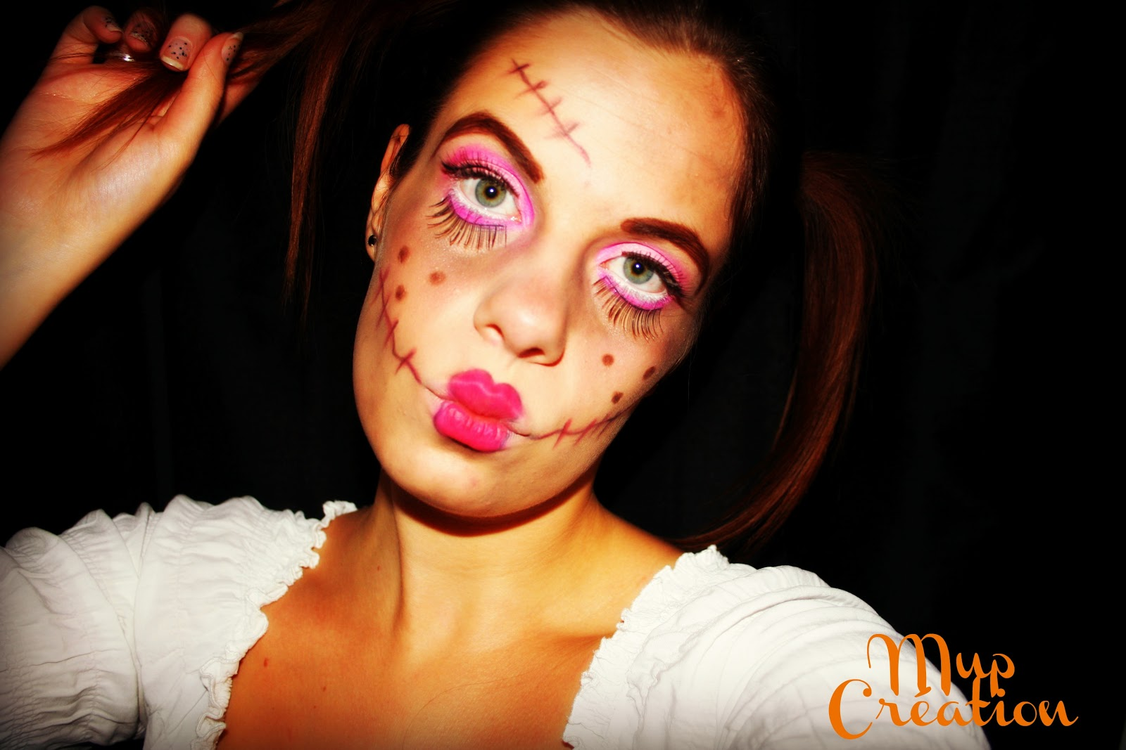 Mup cr ation halloween la poup e mal fique les tapes - Maquillage poupee halloween ...