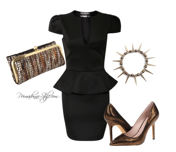 Piolot women's cap sleeve peplum dress vince camuto harty heels bronze hobo Rachel clutch Acacia spike bracelet