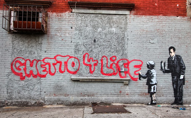 """""""Ghetto 4 Life"""" Banksy's New Piece For """"Better Out Than In"""" located In South Bronx - Day 21, October 21st. 1"""