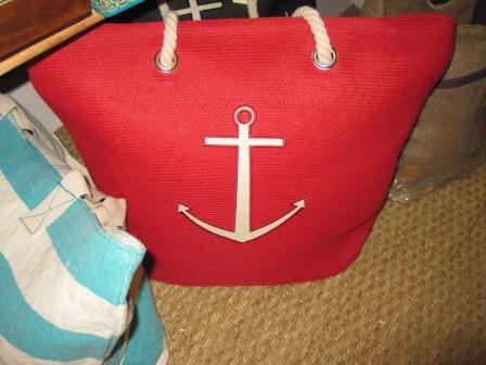 Bolso playa rojo con ancla