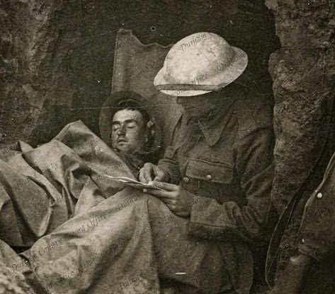 Soldiers resting in a trench in France or Belgium c. 1916 D/DLI 2/8/62(59)
