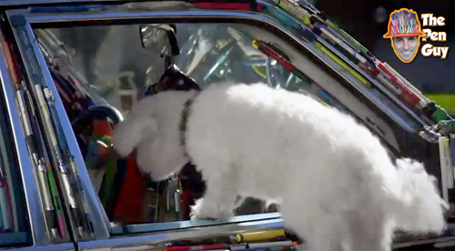Pijo Doggie Boggie jumping in the Mercedes Pens Art Car