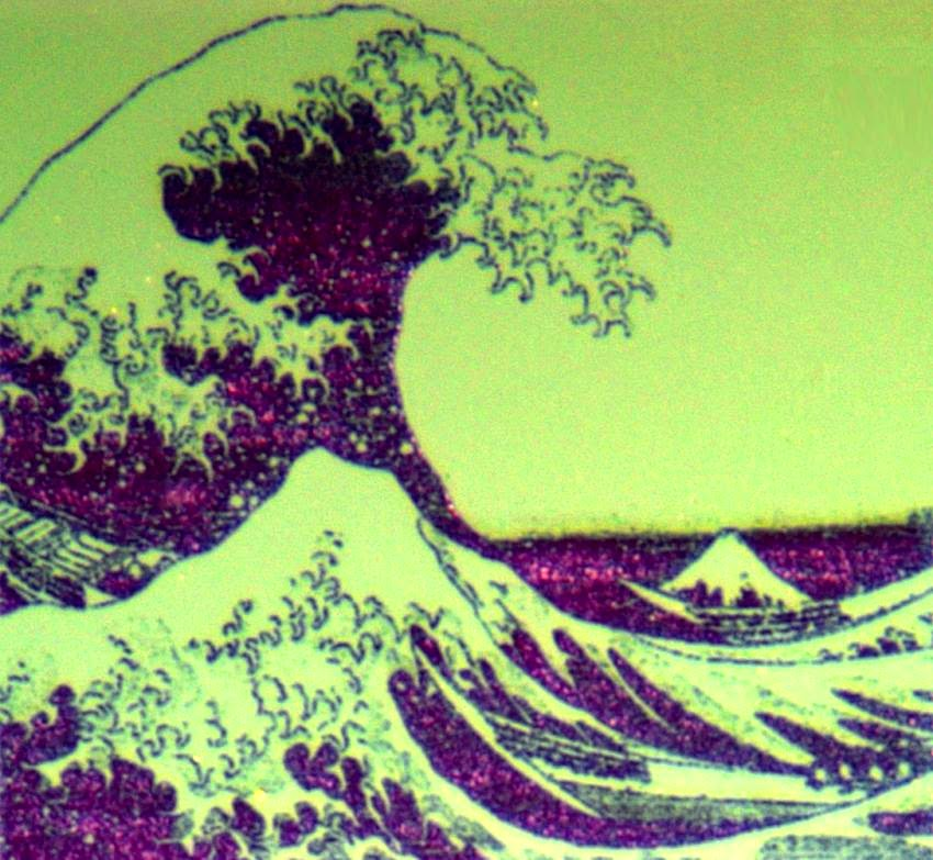 A nanopixel display, showing the The Great Wave off Kanagawa by the Japanese artist Hokusai