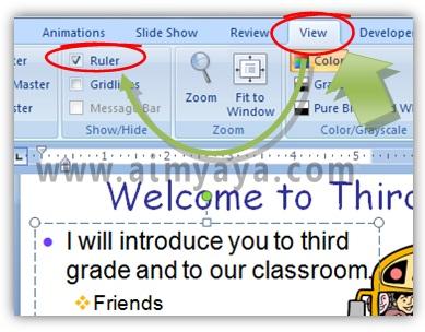 Gambar:  Cara Menampilkan Ruler di Microsoft Powerpoint