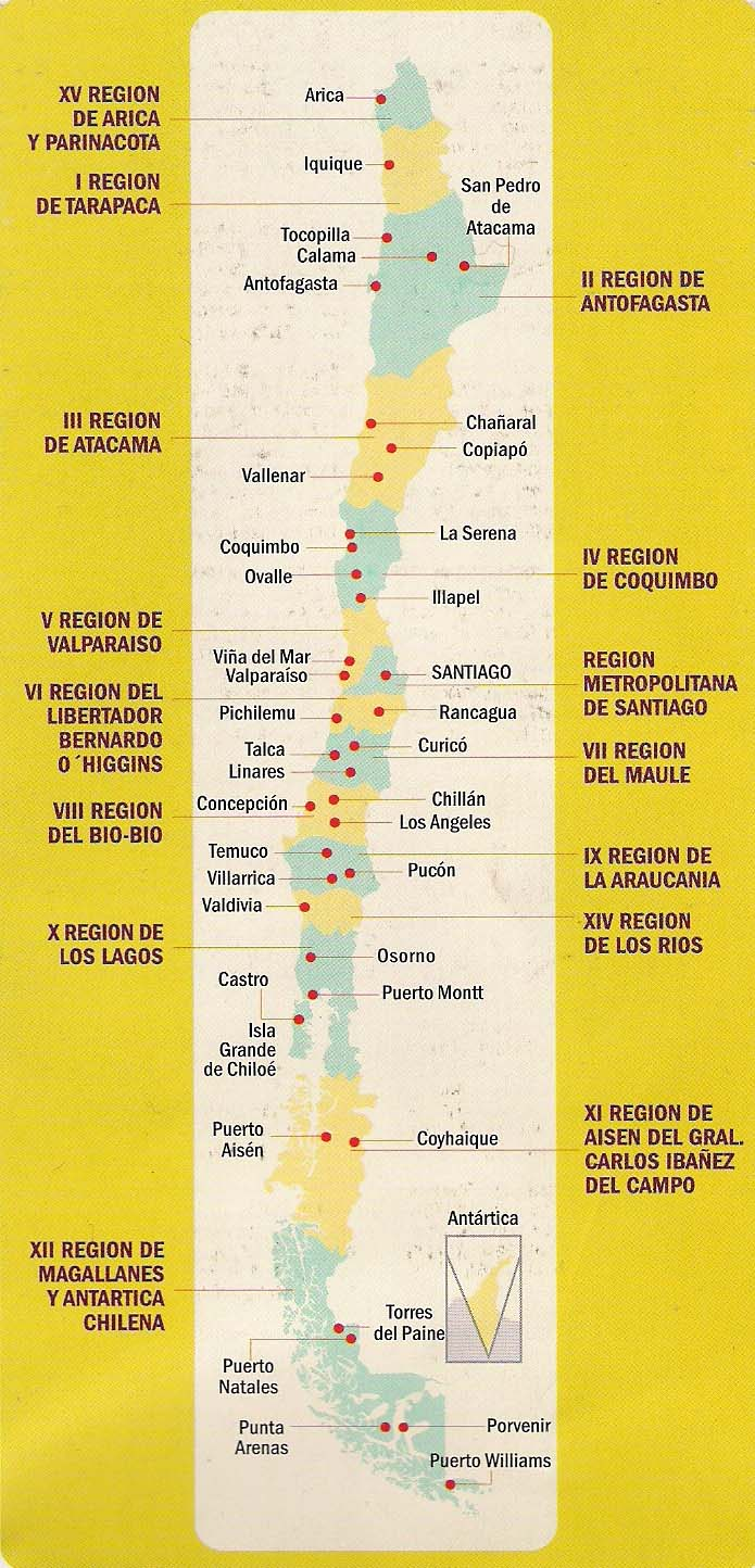 de chile y sus regiones:
