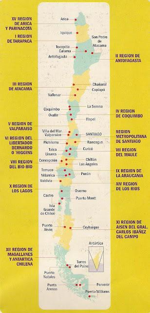 mapa de chile por regiones