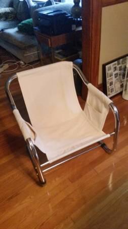 Chrome/Canvas Muslin Sling Chair Mid Century Vibe   $30 (Milton)